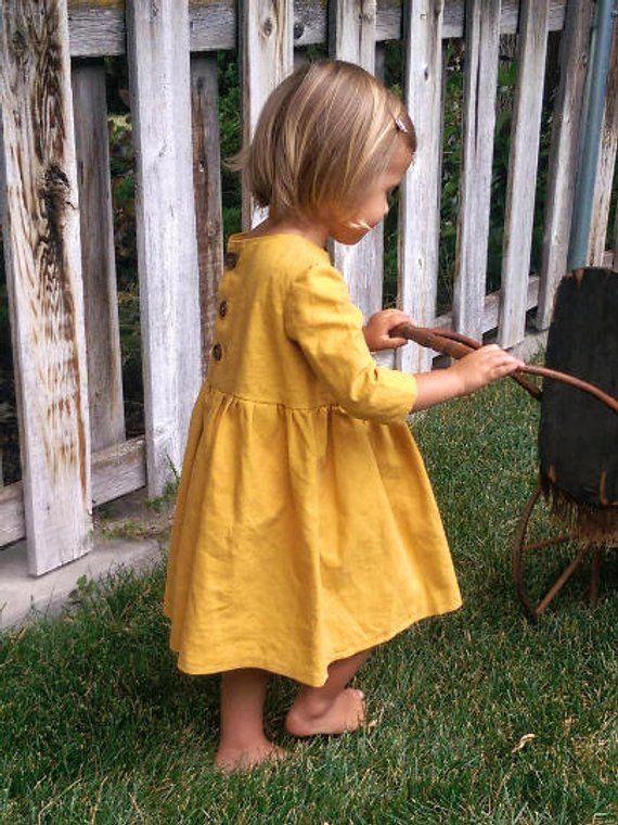 Mustard Yellow Dress Toddler Fall Dress Baby Girl Mustard Linen