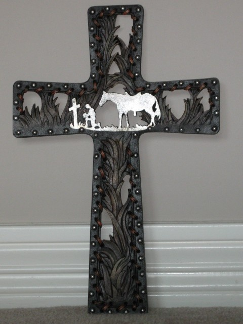 praying cowboy cross with leather