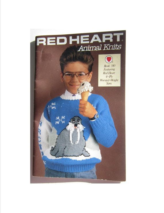 Red Heart Knitting Patterns Animal Knits Book 340. Featuring childrens sweater knit patterns in 4 ply worsted with back-stitched and