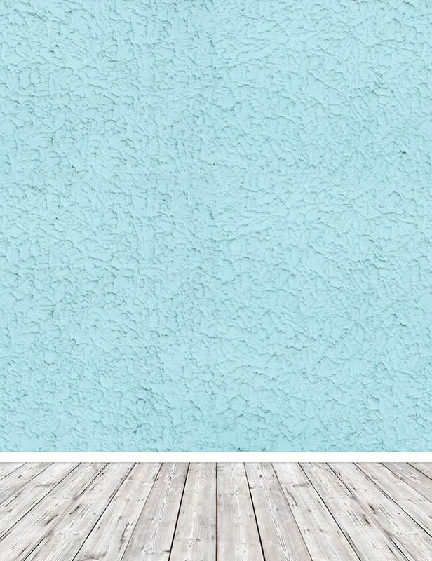 Texture Baby Blue Wall With Gray Wood Floor Backdrop For