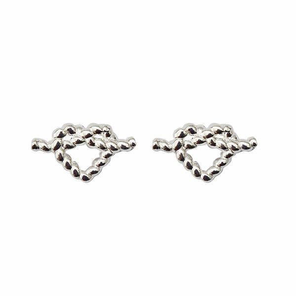 Heart rope stud earrings in sterling silver