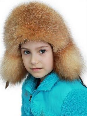 Коричневая шапка цветная меховая детская