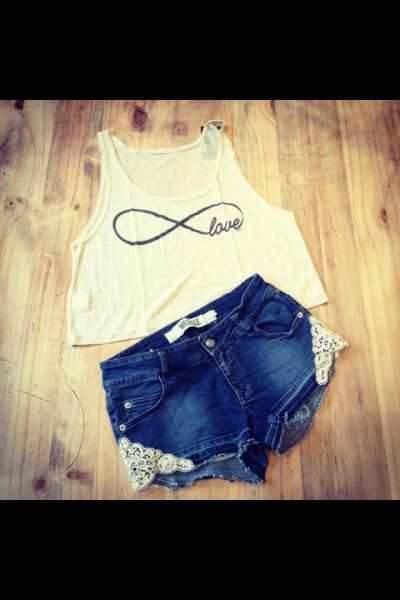 : Clothing, Jeans Lace Shorts Outfits, Beaded Lanyards, Lace Jeans Shorts, Summer Outfits, Jeans Shorts Shorts, Swarovski Crystals, Infinity Shirts Outfits, Denim Shorts