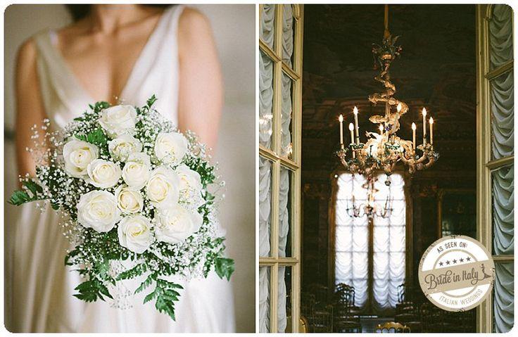 White roses and gypsophila bouquet. Ph NPWA Studio http://www.brideinitaly.com/2012/12/real-wedding-matrimonio-barocco-roma.html