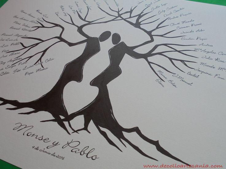 Árbol de huellas para boda, pintado en lámina de 70x50cm. #arboldehuellas, #boda