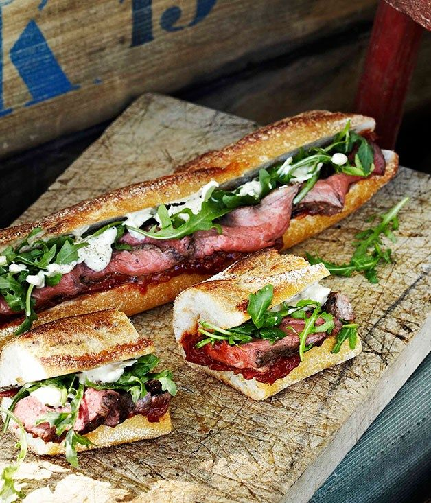 Rare roast beef baguettes with roast tomato and currant chutney - Gourmet Traveller