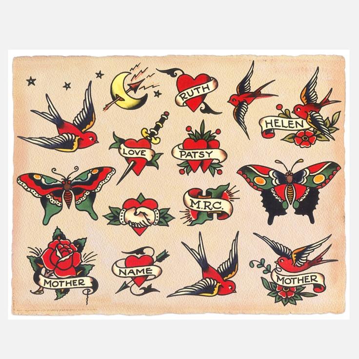 Tattoo Ideas Vintage: Birds & Hearts Print 14x11
