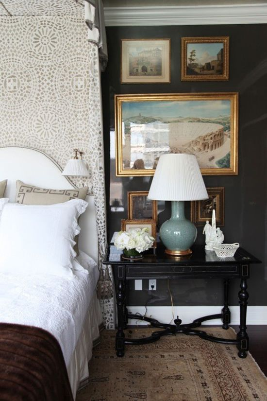 nicely detailed space. use of layering color with art and neutrals.: Wall Colors, Gold Frames, Bedrooms Design, Bedside Tables, Dark Bedrooms, Bedrooms Decor, Alexa Hampton, Black Wall, Dark Wall