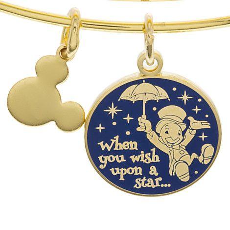 Your WDW Store - Disney Alex and Ani Charm Bracelet - Wish Upon A Star - Gold