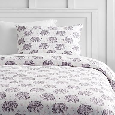 Winter Elephant Flannel Duvet Cover, Full/Queen, Multi