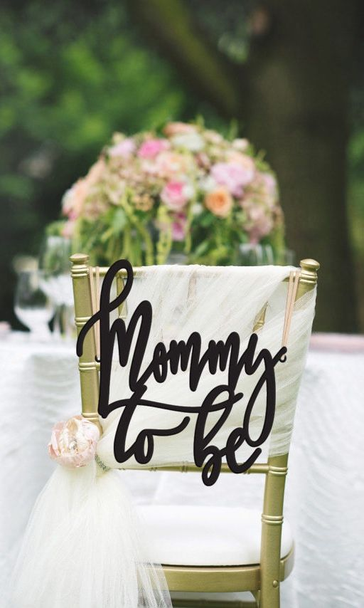 Introducing a new kind of baby shower decor! Only at PS Weddings And Events! Just add this Mommy to be chair sign to the back of any decorated chair and it instantly turns a cute tablescape into a stunning, show-stopper. Who wants one?  #MommyToBe #BabyShower #GardenBabyShower #Baby #ohbaby #styledshoot #winning #pursuepretty #PSWeddingsAndEvents