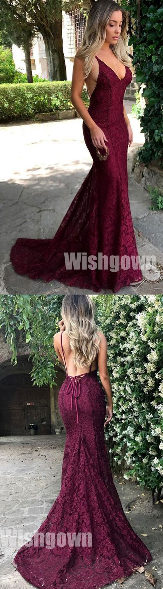 Sexy Mermaid Lace Open Back Online Cheap Long Prom Dresses, WG1053 #promdress #longpromdress