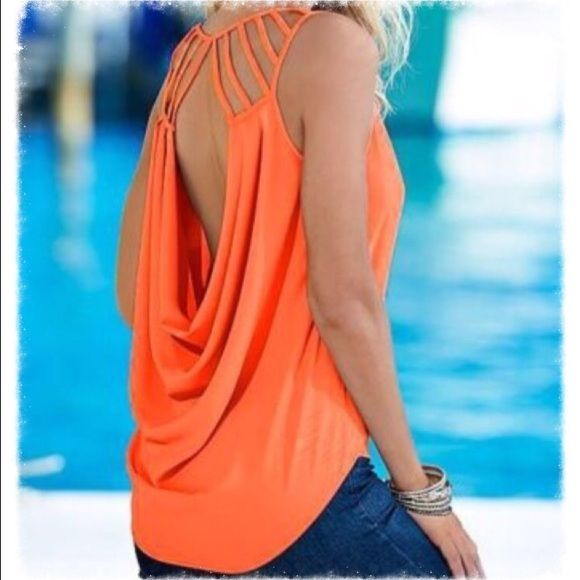 Sleeveless summer blouse in bright orange Chiffon little top with Strappy shoulders and low  plunging draped back. Sexy but practical and versatile. M-36 Bust. Tops