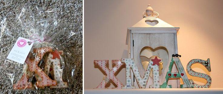 4 letras de madera xmas hechas a mano por 100 made with - Letras de madera decoradas ...