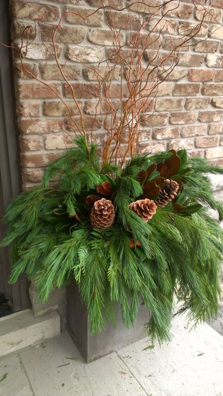 christmas urns outdoors