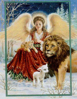 Angel Lion and Lamb - Cross Stitch Pattern
