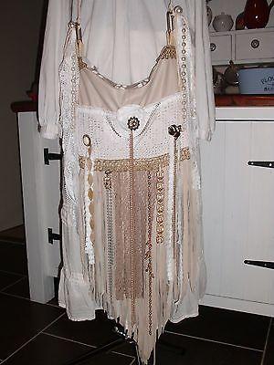 Handmade Ivory Leather Vintage Lace Boho Gypsy Hippie Feminine Handbag Purse