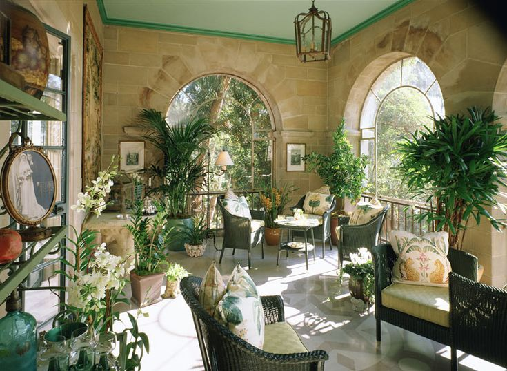 Solarium Greystone Mansion Showcase House Beverly Hills Green Ceiling With Darker Moulding