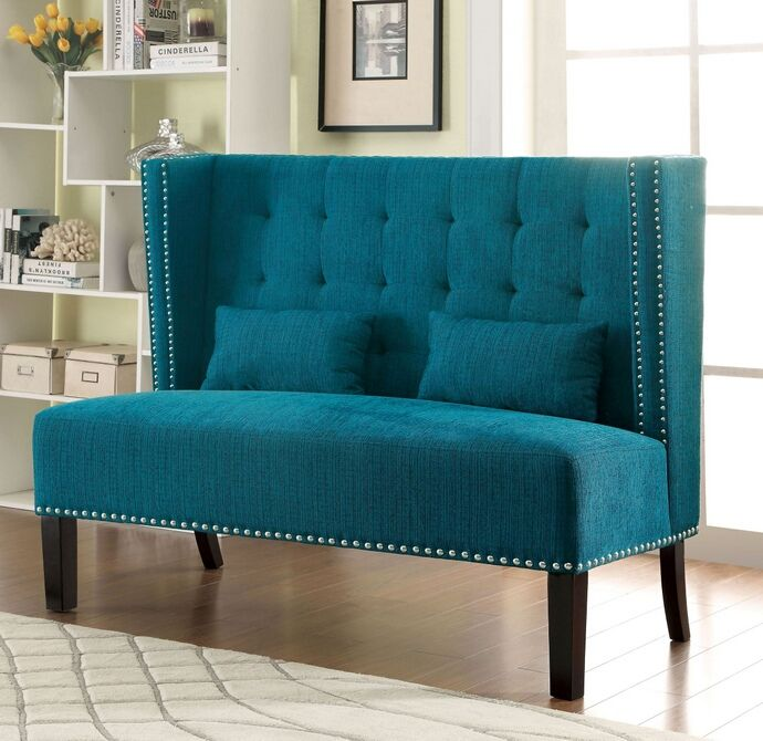 Cm Bn6226tl Amora Teal Fabric Mid Century Style High Back