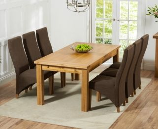 Mark Harris Rustique Solid Oak 180cm Extending Dining Table With 6 Harley Cinnamon Brown Chair