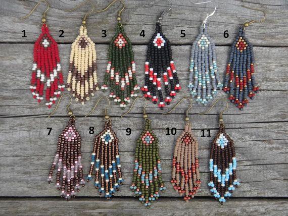 Boucle d'oreilles Amérindiennes. Motif fléché Boucles d'oreilles franges perlées…
