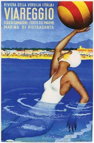 Vintage Italian Posters ~ #illustrator #Italian #posters By Riviera della Versilia, c 1 9 3 0, Viareggio,