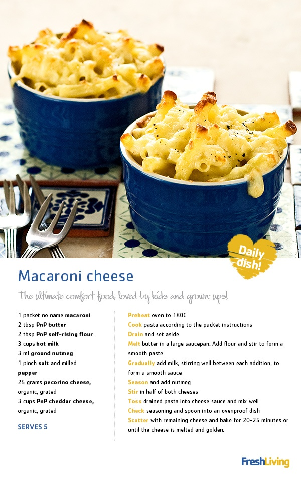 What a busy week-end! Tonight we're looking forward to a quiet night in. Join us for some good old comfort food: #macaroni and #cheese! #recipe #dailydish #picknpay