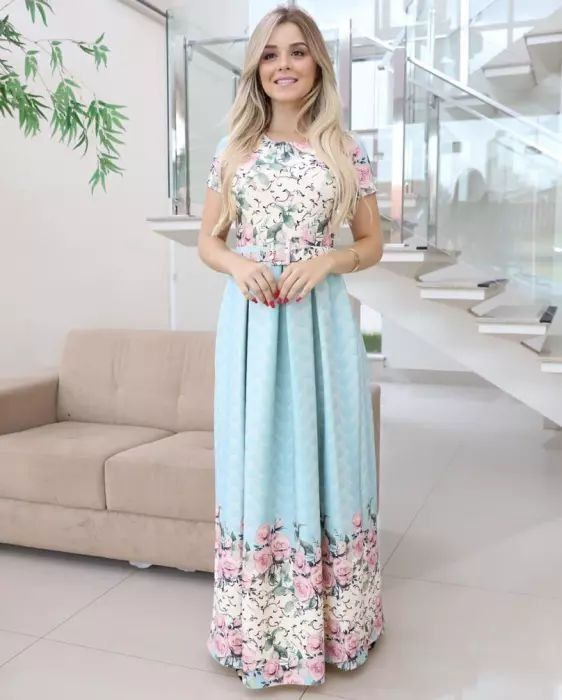 67ba2c68a Vestido Longo Paola Neoprene com Cinto Moda Evangélica é aqui. Tudo em até  6x sem