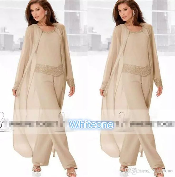 2016 Champagne Three Piece Mother Of The Bride Pant Suits With Long Jackets Long Sleeves Beaded Chiffon Mother Plus Size Wedding Guest Dress Formal Dresses For Moms Joan Rivers Suit From Whiteone, $105.51| Dhgate.Com