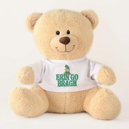 Erin Go Bragh Little Leprechaun Teddy Bear - st. patricks day gifts irish ireland green fun party diy custom holiday