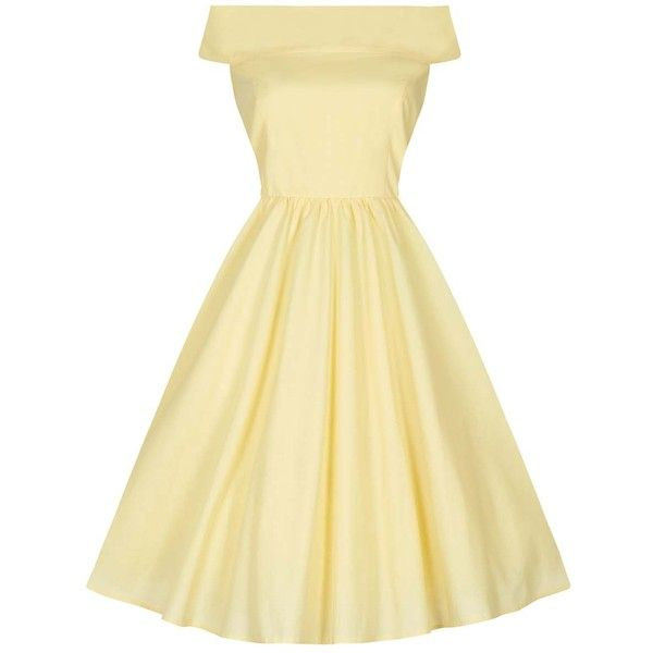 Bardot Dress Sundress Yellow (4,175 INR) ❤ liked on Polyvore featuring dresses, beige sundress, summer sundresses, sundress dresses, yellow dress and yellow sun dress