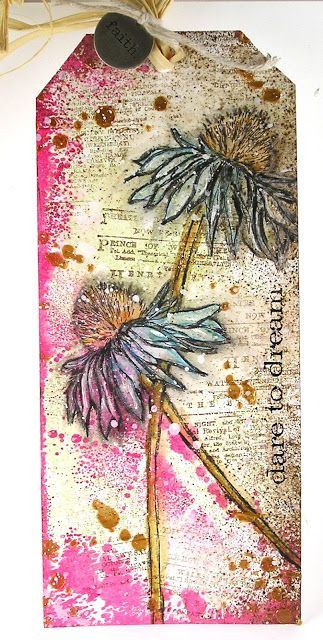 "June ""2nd Anniversary"" Challenge Winners (The Mixed Media Monthly Challenge…(Pin#1: Flowers: Stamped; Pin+: Tags...)."