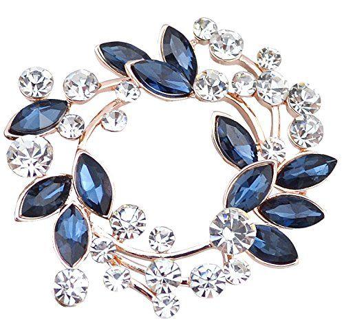 2e9c9cf78 Gyn&Joy Clear Crystal Rhinestone Floral Wreath Pin Brooch... https:/