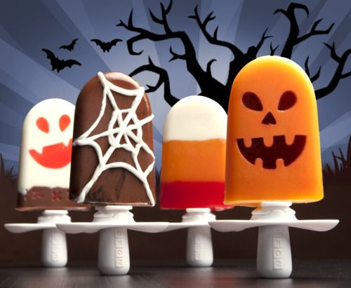 halloween pops. *note: use all soy milk instead of cream, agave instead of sugar, replace half and half with milk....a much healthier (& vegan) version