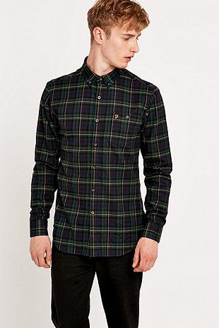 Farah Prince of Wales Navy Check Shirt - Urban Outfitters