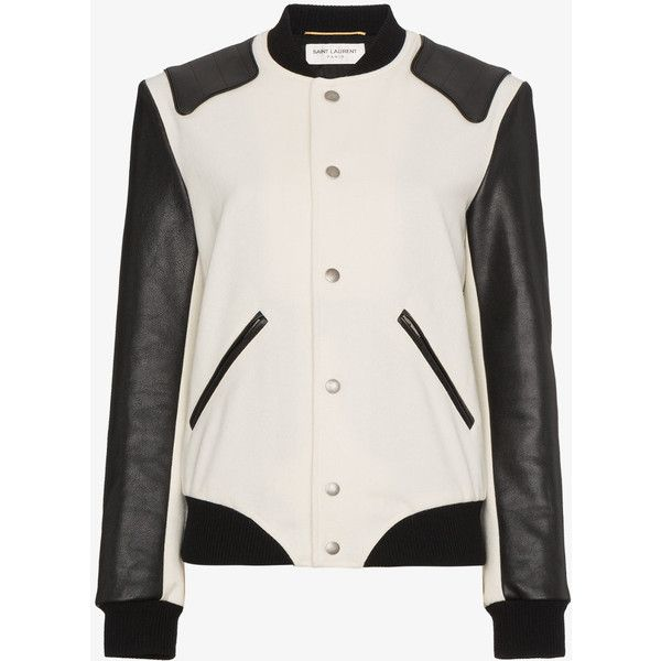 Saint Laurent Heaven Varsity Jacket ($3,870) ❤ liked on Polyvore featuring outerwear, jackets, white, letterman jacket, leather varsity jacket, long sleeve jacket, yves saint laurent and genuine leather jackets