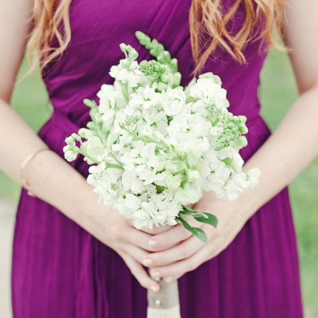 White Stock Bridesmaid Bouquets // photo by: The Nichols Photography // Bridesmaid Bouquets: Katelyn Bransom // http://www.theknot.com/weddings/album/a-vibrant-rustic-wedding-in-austin-tx-136764