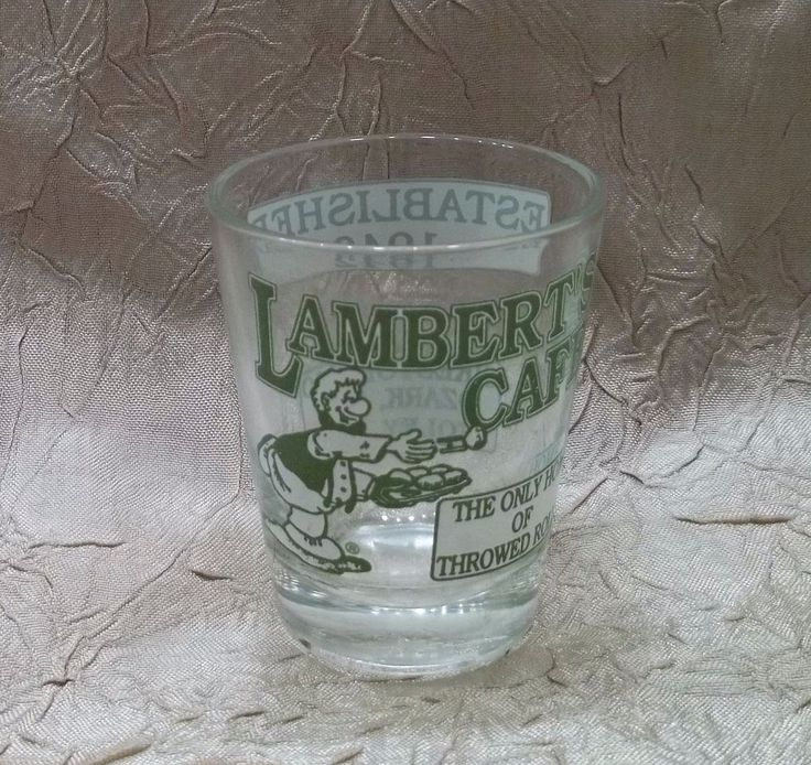 Lambert's Cafe Shot Glass Home Of The Throwed Rolls Sikeston & Ozark MO Foley AL