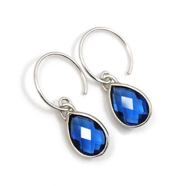 Blauwe kristallen druppel oorbellen midnight silver hangers sapphire | Applepiepieces