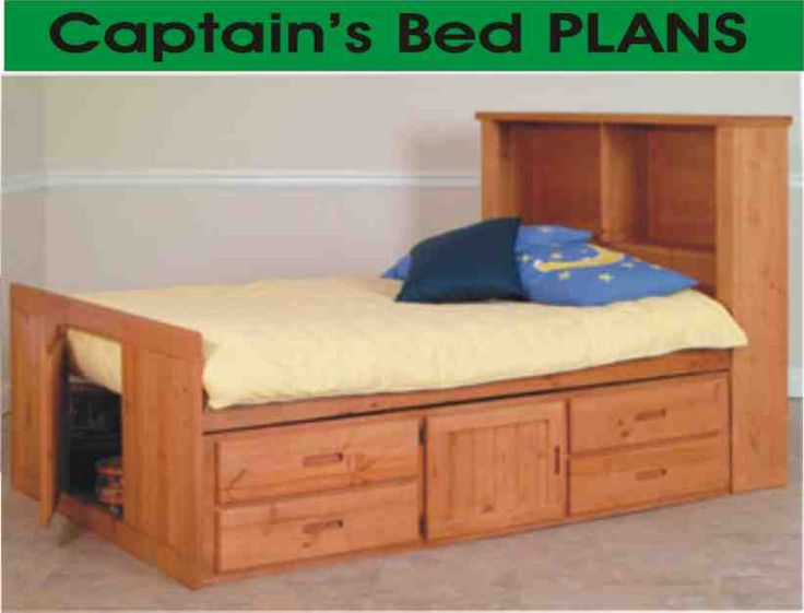 Logan has decided he wants this bed.  Plans for it are only $9.99.  He likes the drawers, under storage and the shelves on the head board.