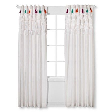 target bedroom curtains boho boutique tassel curtain panel white 84 quot target 13439