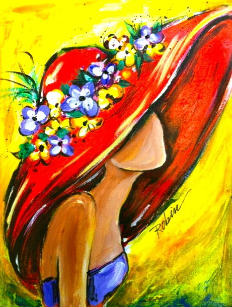 Gorgeous women painting. Love the bright colors, this is such a summery and happy painting.