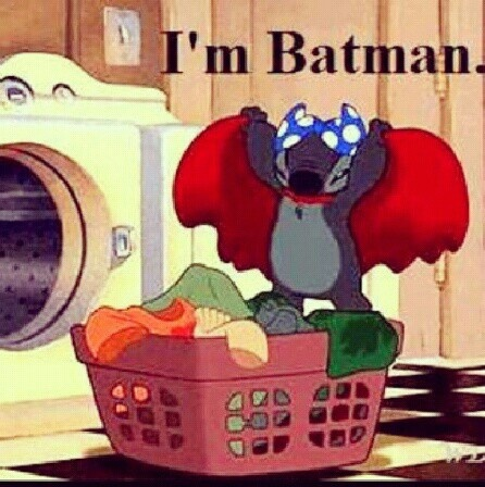 Stitch by day, Batman by night...