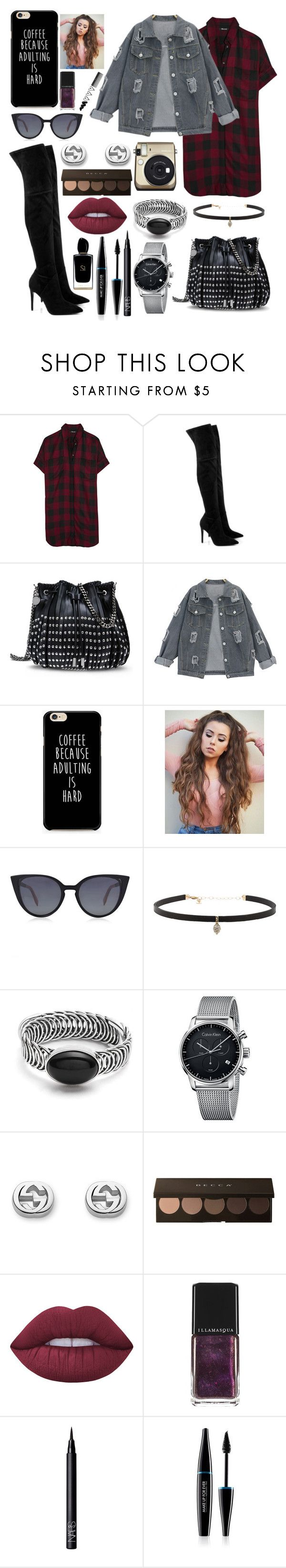 """""""Glam LOOK"""" by polina18necko ❤ liked on Polyvore featuring Madewell, Kendall + Kylie, STELLA McCARTNEY, Fendi, Carbon & Hyde, Calvin Klein, Gucci, Lime Crime, Illamasqua and NARS Cosmetics"""