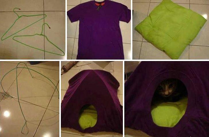 Old T-shirt Cat Tent - Tutorial - http://www.differentdesign.it/2013/09/23/old-t-shirt-cat-tent-tutorial/