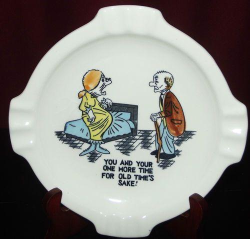 #Vintage #Mid-Century #Ashtray Funny Humor Old Folks Couple #Pregnancy Comic Print.