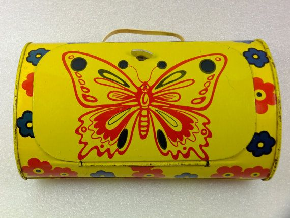 Butterfly Tin Case Flower Tin Case Soviet Tin Toy by ContesDeFees
