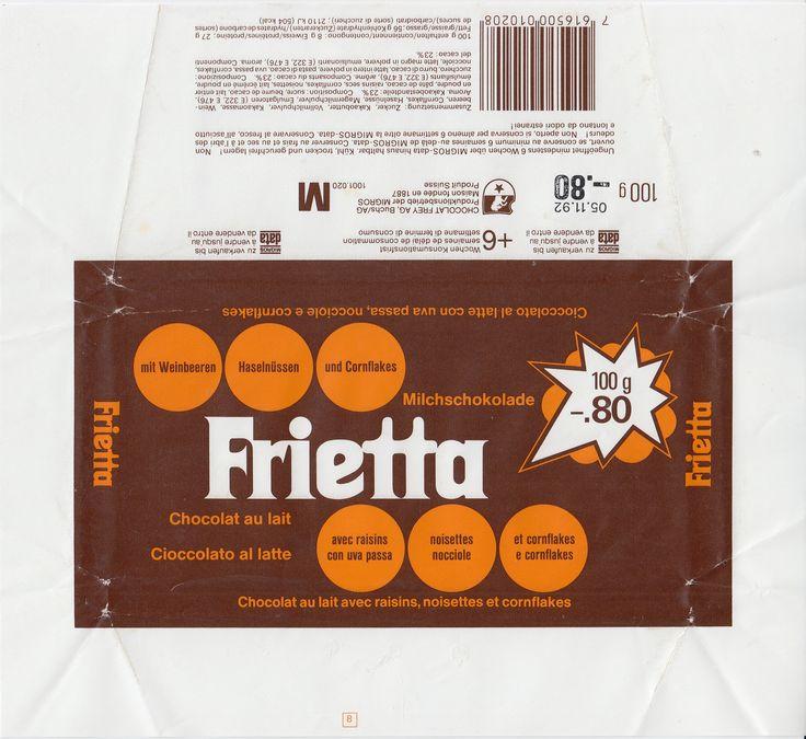 Frietta Milchschokolade mit Weinbeeren, Haselnüssen und Cornflakes 1991