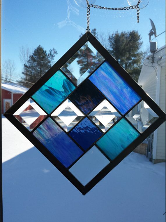 Stained Glass Panel Beveled Glass House by Lolashiddentreasures