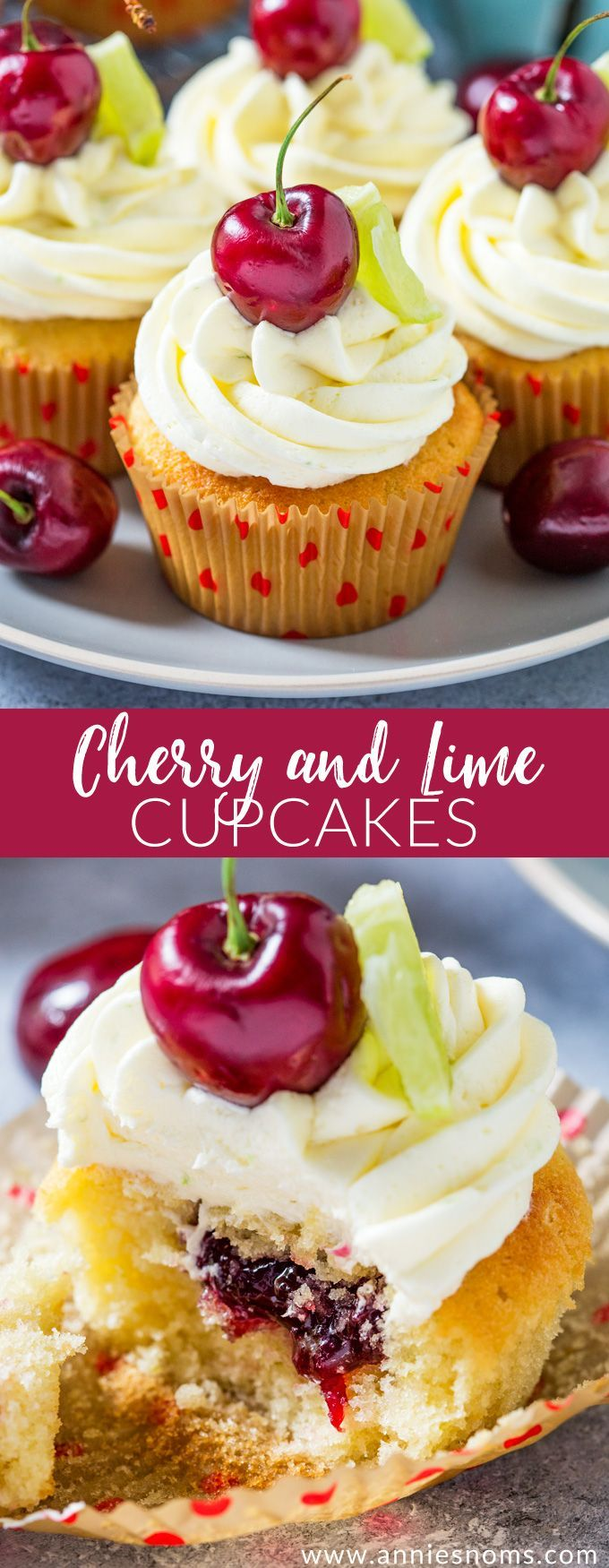 These Cherry and Lime Cupcakes are filled with homemade jam & lime zest. Topped with light, fluffy frosting, they are the perfect balance of tart and sweet.